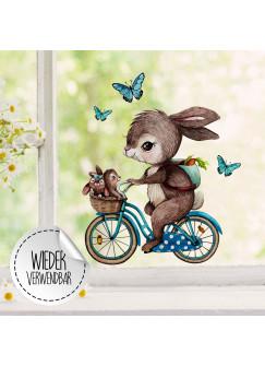 Fensterbild Hase auf Fahrrad mit Hasenkinder -WIEDERVERWENDBAR- Fensterdeko Fensterbilder bf27
