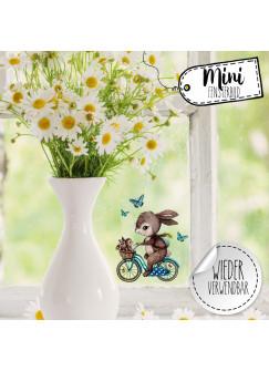 Mini-Fensterbild Hase auf Fahrrad mit Hasenkinder -WIEDERVERWENDBAR- Mini-Fensterbilder Gr.9cm x 10cm Fensterdeko Frühlingsdeko bf27mini