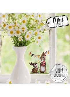 Mini-Fensterbild Hasen Häschen Schmetterlinge mit Wimpel -WIEDERVERWENDBAR- Mini-Fensterbilder Gr.10cm x 10cm Fensterdeko Frühlingsdeko bf28mini