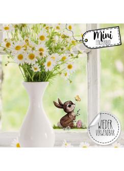Mini-Fensterbild Hase Schmetterling mit Ostereier -WIEDERVERWENDBAR- Mini-Fensterbilder Gr.10cm x 8cm Fensterdeko Frühlingsdeko bf30mini
