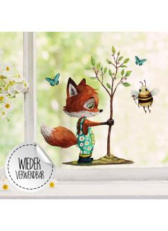 Fensterbild Fuchs Baum mit Biene -WIEDERVERWENDBAR- Fensterdeko Fensterbilder bf31