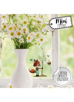 Mini-Fensterbild Fuchs Baum mit Biene -WIEDERVERWENDBAR- Mini-Fensterbilder Gr.8cm x 10cm Fensterdeko Frühlingsdeko bf31mini