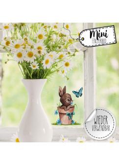Mini-Fensterbild Hase Häschen im Blumentopf -WIEDERVERWENDBAR- Mini-Fensterbilder Gr.8cm x 10cm Fensterdeko Frühlingsdeko bf32mini