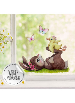 Fensterbild Hase mit Entchen & Schmetterlinge -WIEDERVERWENDBAR- Fensterdeko Fensterbilder Frühlingsdeko Ostern Osterdeko bf33