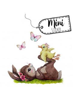 Mini Sticker Aufkleber Hase mit Entchen & Schmetterlinge - wiederverwendbar - Frühlings Deko Fensterbilder Osterdeko Ostern bf33mini