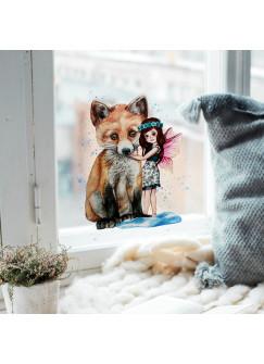 Fensterbild Elfe & Fuchs -WIEDERVERWENDBAR- Fensterdeko Fensterbilder bf4