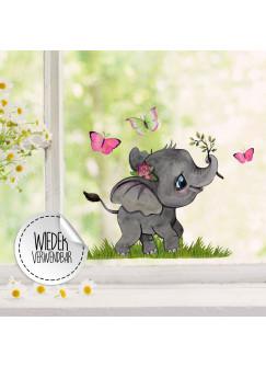 Fensterbild kleiner Elefant mit Schmetterlinge -WIEDERVERWENDBAR- Fensterdeko Fensterbilder Frühling Frühlingsdeko Deko Dekoration bf47