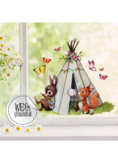 Fensterbild Eichhörnchen Hase mit Zelt Schmetterlinge -WIEDERVERWENDBAR- Fensterdeko Fensterbilder Frühling Frühlingsdeko Deko Dekoration bf48