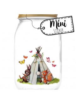 Mini Sticker Aufkleber Eichhörnchen Hase mit Zelt Schmetterlinge - wiederverwendbar - Fensterdeko Fensterbilder Frühling Deko Dekoration bf48mini