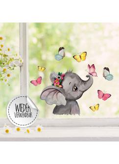 Fensterbild Elefant Kopf seitlich mit Schmetterlinge -WIEDERVERWENDBAR- Fensterdeko Fensterbilder Frühling Frühlingsdeko Deko Dekoration bf49