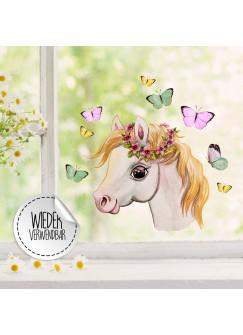 Fensterbild Pferd Pferdchen Kopf seitlich Schmetterlinge -WIEDERVERWENDBAR- Fensterdeko Fensterbilder Frühling Frühlingsdeko Deko Dekoration bf50