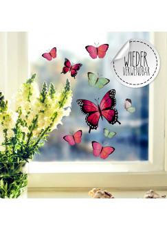 Fensterbild Schmetterlinge rosa pink grün -WIEDERVERWENDBAR- Fensterdeko Fensterbilder Frühling Frühlingsdeko Deko Dekoration bf53