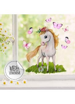 Fensterbild Pferd Pferdchen stehend Schmetterlinge -WIEDERVERWENDBAR- Fensterdeko Fensterbilder Frühling Frühlingsdeko Deko Dekoration bf54