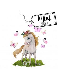 Mini Sticker Aufkleber Pferd Pferdchen mit Schmetterlinge - wiederverwendbar - Frühlings Deko Fensterbilder Dekoration bf54mini