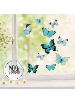 Fensterbild Schmetterlinge blau -WIEDERVERWENDBAR- Fensterdeko Fensterbilder Frühling Frühlingsdeko Deko Dekoration bf59