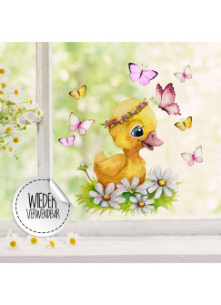 Fensterbild Ente Entchen Blumen Schmetterlinge -WIEDERVERWENDBAR- Fensterdeko Fensterbilder Frühling Frühlingsdeko Deko Dekoration bf60