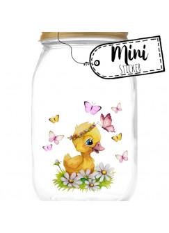 Mini Sticker Aufkleber Ente Entchen Blumen Schmetterlinge - wiederverwendbar - Fensterdeko Fensterbilder Frühling Deko Dekoration bf60mini