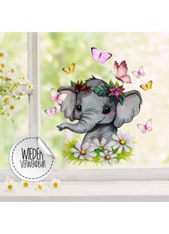 Fensterbild Elefant Blumen Schmetterlinge -WIEDERVERWENDBAR- Fensterdeko Fensterbilder Frühling Frühlingsdeko Deko Dekoration bf61