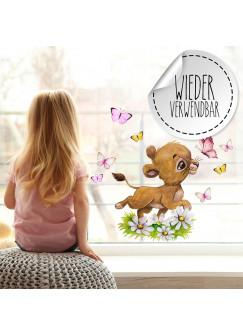 Fensterbild Löwe Löwenbaby Blumen Schmetterlinge -WIEDERVERWENDBAR- Fensterdeko Fensterbilder Frühling Frühlingsdeko Deko Dekoration bf63
