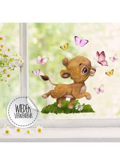 Fensterbild Löwe Löwenbaby Mädchen Schmetterlinge -WIEDERVERWENDBAR- Fensterdeko Fensterbilder Frühling Frühlingsdeko Deko Dekoration bf64