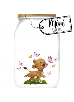 Mini Sticker Aufkleber Löwe Löwenbaby Mädchen Schmetterlinge -wiederverwendbar- Fensterdeko Fensterbilder Frühling Deko Dekoration bf64mini
