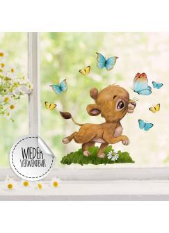 Fensterbild Löwe Löwenbaby Junge Schmetterlinge -WIEDERVERWENDBAR- Fensterdeko Fensterbilder Frühling Frühlingsdeko Deko Dekoration bf65