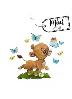 Mini Sticker Aufkleber Löwe Löwenbaby Junge Schmetterlinge - wiederverwendbar - Fensterdeko Fensterbilder Frühling Frühlingsdeko Deko Dekoration bf65mini