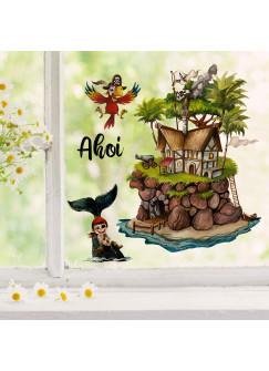 Fensterbild Pirat Pirateninsel Papagei Ahoi -wiederverwendbar- Fensterdeko Fensterbilder Deko Dekoration bf67