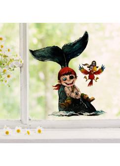 Fensterbild Pirat Piratenjunge auf Wal Fisch & Papagei -wiederverwendbar- Fensterdeko Fensterbilder Deko Dekoration bf68