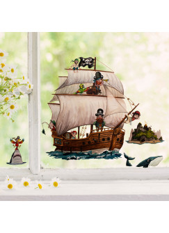 Fensterbild Piratenschiff Insel Hai Papagei -wiederverwendbar- Fensterdeko Fensterbilder Deko Dekoration bf69