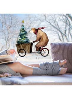 Fensterbild Bär auf Fahrrad mit Weihnachtsbaum -WIEDERVERWENDBAR- Fensterdeko Fensterbilder bf7