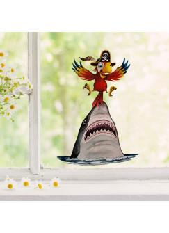 Fensterbild Hai Fisch Vogel Papagei -wiederverwendbar- Fensterdeko Fensterbilder Deko Dekoration Kinderzimmer bf71