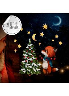 Fensterbild Weihnachtsdeko Weihnachten Fuchs Sterne -wiederverwendbar- Fensterdeko Winter Fensterbilder Kinder Zimmer bf72