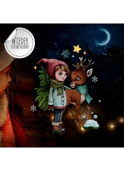 Fensterbild Weihnachtsdeko Weihnachten Mädchen Reh Schneeflocken -wiederverwendbar- Fensterdeko Winter Fensterbilder Kinder bf73