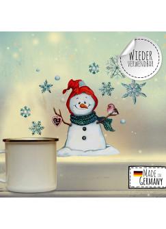 Fensterbild Weihnachtsdeko Schneemann Vogel Schneeflocken -wiederverwendbar- Fensterdeko Winter Fensterbilder Kinder Zimmer bf74