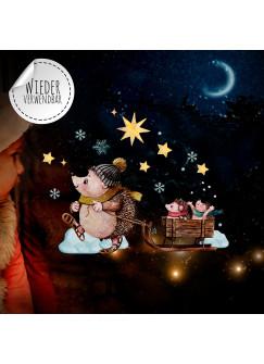 Fensterbild Weihnachtsdeko Weihnachten Igel Schlitten -wiederverwendbar- Fensterdeko Winter Fensterbilder Kinder bf76