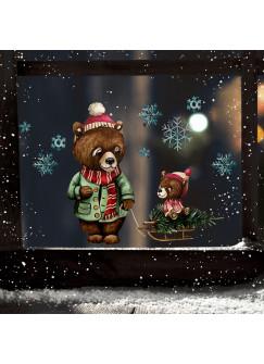 Fensterbild Weihnachtsdeko Weihnachten Bär Papabär Baby Schlitten -wiederverwendbar- Fensterdeko Winter Fensterbilder Kinder bf77