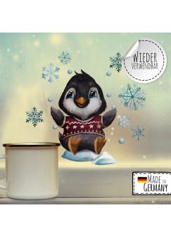 Fensterbild Weihnachtsdeko Weihnachten Pinguin Schneeflocken -wiederverwendbar- Fensterdeko Winter Fensterbilder Kinder bf79
