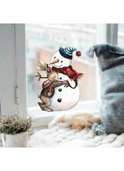 Fensterbild Hase Häschen mit Schneemann -WIEDERVERWENDBAR- Fensterdeko Fensterbilder bf8