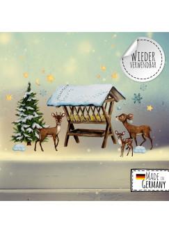 Fensterbild Weihnachtsdeko Weihnachten Futterkrippe Rehe Rehkids Schnee -wiederverwendbar- Fensterdeko Winter Fensterbilder bf81