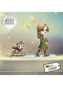 Fensterbild Weihnachtsdeko Weihnachten Mädchen Husky Hund Sterne -wiederverwendbar- Fensterdeko Winter Fensterbilder Kinder bf82