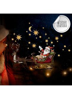 Fensterbild Weihnachtsdeko Weihnachten Weihnachtsmann Schlitten -wiederverwendbar- Fensterdeko Winter Fensterbilder Kinder bf83
