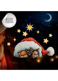 Fensterbild Weihnachtsdeko Tiere unter Mütze Sterne -wiederverwendbar- Fensterdeko Winter Fensterbilder Kinder bf84