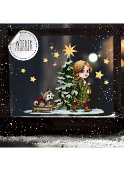 Fensterbild Weihnachtsdeko Weihnachten Mädchen Husky Hund Baum -wiederverwendbar- Fensterdeko Winter Fensterbilder Kinder bf85