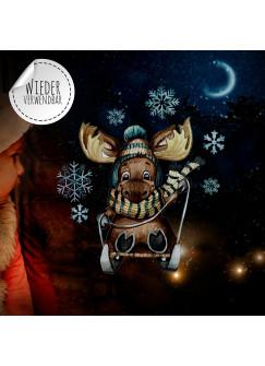 Fensterbild Weihnachtsdeko Weihnachten Elch Schlitten Schneeflocken -wiederverwendbar- Fensterdeko Winter Fensterbilder Kinder bf87