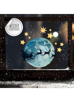 Fensterbild Weihnachtsdeko Vollmond Weihnachtsmann Sterne -wiederverwendbar- Fensterdeko Winter Fensterbilder Kinder bf90