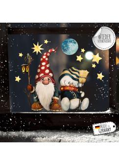 Fensterbild Weihnachtsdeko Weihnachten Zwerg Schneemann -wiederverwendbar- Fensterdeko Winter Fensterbilder Kinder bf92
