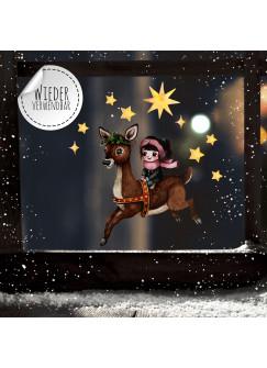 Fensterbild Weihnachtsdeko Mädchen Reh Sterne -wiederverwendbar- Fensterdeko Winter Fensterbilder Kinder Zimmer bf93