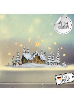 Fensterbild Weihnachtsdeko Winterhäuschen Rehe Sterne -wiederverwendbar- Fensterdeko Winter Fensterbilder Kinder Zimmer bf94