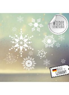Fensterbild Weihnachtsdeko Schneekristalle Schneefklocken -wiederverwendbar- Fensterdeko Winter Fensterbilder Kinder Zimmer bf98